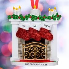 <b>Stockings</b> On The <b>Mantel Personalized Family</b> Ornament