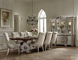 Formal Dining Room Sets With China Cabinet Orleans Ii White Wash Traditional 7pc Formal Dining Room Furniture