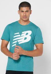 Shop New Balance green <b>Graphic Heathertech T</b>-Shirt ...