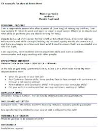 resume examples  stay at home mom resume example customer service        resume examples  stay at home mom resume example for personal profile with employment history and