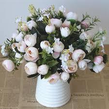 <b>5 Branch</b> per Bouquet Silk Artificial Tea <b>Rose</b> Bouquet for Wedding ...