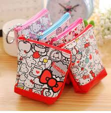 1pc lovely <b>hello Kitty pu leather</b> coin purses zero wallet child girl ...