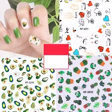 1Pc Summer Fruit 3D Nail Art Sticker summer fruit <b>Avocado Small</b> ...