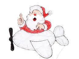 Светящееся украшение SnowHouse Дед Мороз на самолете ...