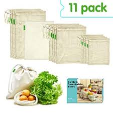 E-Know Produce Bags,11 Pack <b>Reusable Produce Bags</b>,<b>Natural</b> ...