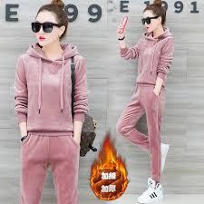 <b>YICIYA Pink</b> Velvet <b>2</b> piece set tracksuits women <b>outfit</b> sportswear ...