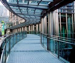 stainless steel in architecture building construction pedestrian bridge at cheung kong center hong kong