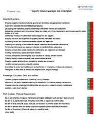 property management job descriptionsproperty service manager job description
