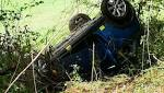 Woman rescued after Mini ends up on roof in field after crash