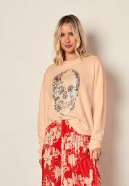 THE OTHERS-THE <b>VINTAGE</b> SWEAT - PEACH/<b>FLORAL SKULL</b> ...