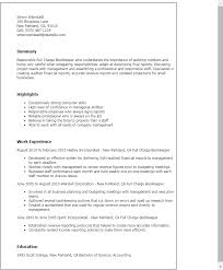 resume templates full charge bookkeeper bookkeeper resume examples
