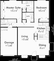 One Story Duplex House Plans  Bedroom Duplex Plans  Duplex PlanMain Floor Plan for D  One story duplex house plans  bedroom duplex