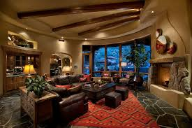 brown leather sectional living room traditional with arch archway bar beams accent lighting family room