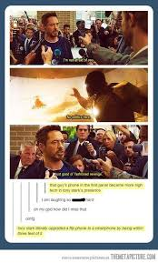 tony stark literally upgraded a flip phone to a smartphone by being within three feet bedroom upstairs tony stark