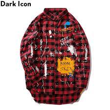 <b>Dark Icon</b> Graffiti Flannel <b>Plaid</b> Shirts Men X Long Hip Hip Shirts ...