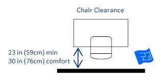 office desk height. room behind your chair office desk height