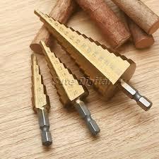 <b>3pcs HSS</b> Steel Titanium Coated Step Cone Drill Bit <b>Set</b> Hole Cutter ...