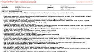 job titlephysiotherapist cv work experience