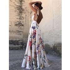Floral Print <b>Summer</b> Dress <b>Women's</b> Backless Gown · Pleasantmall