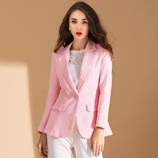 <b>Women</b> Pink Slim Small Suit <b>Flax</b> Solid color OL Blazer <b>2019 New</b> ...