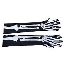Yuxiale 1Pair Long Skeleton Gloves <b>Skull Bone</b> Ghost Gloves ...