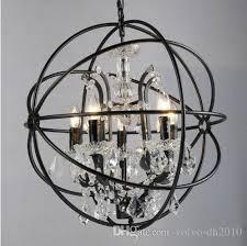 Industry <b>Retro</b> Pendant Crystal <b>Iron</b> Ball Shape Lamp E14 <b>Vintage</b> ...