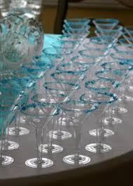 Breakfast at Tiffany party favors martini glasses edged with blue