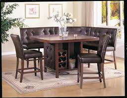 black and white dining table set: corner black and wood dining room set with bench and dining table with wine storage