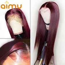 <b>99J Red</b> Wine Color Customized Lace Front 100% Real Straight ...