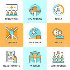 line icons set flat design elements of business people line icons set flat design elements of business people teamwork personal development growth