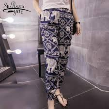 2019 <b>fashion print</b> chiffon harem pants <b>bohemian style</b> casual loose ...
