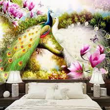 Custom 3D Wall Murals Wallpaper <b>Hand Painted Flowers Birds</b> ...