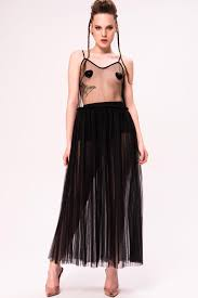 Sheer <b>Mesh Pleated</b> Cami Black <b>Dress</b> | Kikiriki