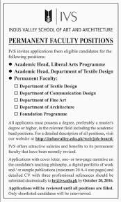 faculty positions required in indus valley school of art and faculty positions required in indus valley school of art and architecture 18th 2016