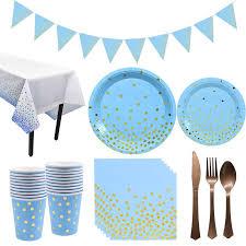 <b>10</b> шт. <b>синий</b> бронзирующий набор одноразовой посуды в ...