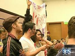 uc regents increase tuition protesters wearing zombie makeup disrupt a uc regents budget committee meeting in san francisco july