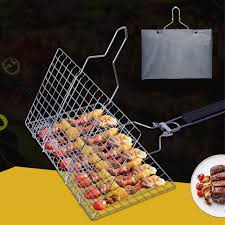 BBQ Net BBQ Grilling Basket for Fish <b>Portable Stainless Steel Wire</b> ...