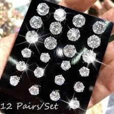 6/12 Pair/lot White Black Cubic Zirconia Earrings Men ... - Vova