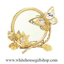 <b>Gold Butterfly</b>, Mirror, & <b>Photo Frame</b>, Swarovski® Crystals, 24KT ...