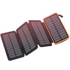 Feelle Solar Charger 25000 mAh Power Bank with 4 <b>Solar Panels</b> ...
