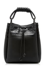Drawstring <b>Crocodile</b>-Paneled Leather <b>Bucket Bag</b> by Nancy ...