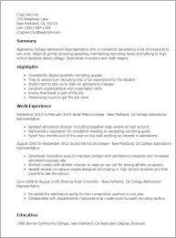 Resume Templates  College Admissions Representative