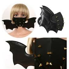 Gothic <b>PU</b> Leather <b>Bat</b> Mouth Cover + <b>Rivets</b> Half Face Cover for ...