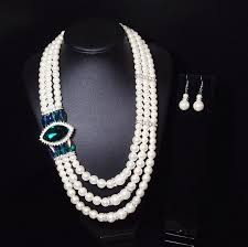 <b>Luxury</b> Womens Pearl <b>Wedding Jewelry</b> Set <b>Statement</b> Gemstone ...