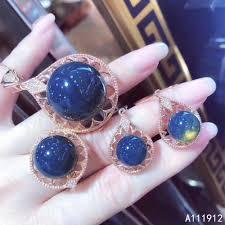 <b>KJJEAXCMY fine jewelry</b> natural Blue amber 925 sterling silver ...