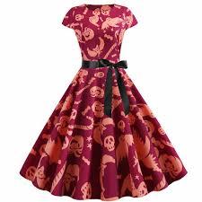 Women Vintage Short Sleeve <b>Halloween</b> 50s Housewife Evening ...