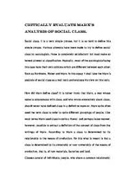 class evaluation essay  lowsipnodnsru critically evaluate marx amp s analysis of social class gcse page