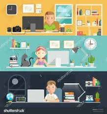 business people working on an office desk vector illustration awesome office table top view shutterstock id