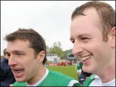 Ryan McCluskey and Chris Breen show their delight after Fermanagh's win - _45788294_354228