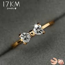 17KM Fashion Austria Crystal Rings <b>Gold Color</b> Finger Bow Ring ...